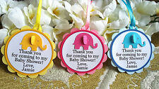 PERSONALISED Baby Shower Party Favour Gift Tags Elephant Design