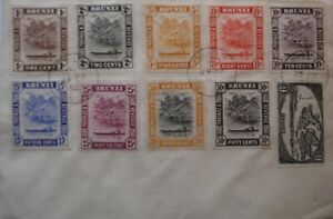 Brunei: 1947-51 set to 50c. (except 3c & 5c) on 1952 cover.