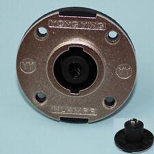 PA LS Einbaubuchse 4 Pins rund mit Aluminiumblende Lautsprecher Silber (287