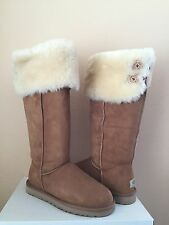 UGG OVER THE KNEE BAILEY BUTTON CHESTNUT BOOTS US 8 / EU 39 / UK 6.5 - NEW