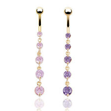 Gold Crystal Rhinestone Belly Button Ring Dangle Navel Body Piercings Charming
