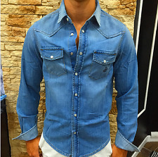 camicia uomo rifle denim bottoni madre perla rl0030-la21t colore 041 chiaro
