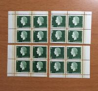 Stamps Canada Sc402p 2c grn Cameo set of MNH Blank Corner blocks of 4 tagged W2B