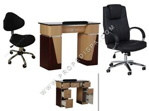 Manicure Nail marble table + Technician stool + Guest chair Spa Pedicure