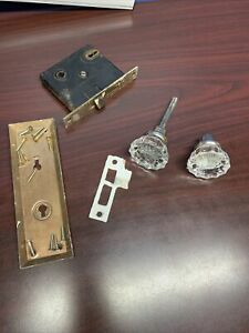 Mortise Lock Set W/ Clear Glass Door Knob Set~screws Included~~~S2