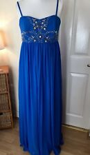 SIZE 16 DESIGNER ASOS long Dress £85 races blue  New With Tags rrp £185