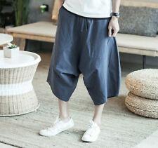 Men's Casual Samurai Loose Fit Thai Fisherman Harem Pants Comfy Cotton Trousers