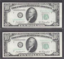 1950A  FEDERAL RESERVE NOTE TEN DOLLAR BILLS ..$10.00..2 CONSECUTIVE UNC NOTES