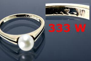 Perlenring alter Goldring 333 Perle 8 Karat Gold Schmuck Damenring 60 70er Jahre
