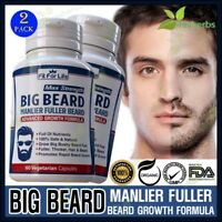 100% Natural Facial Chest Hair Beard Mustache Bushy Growth Supplement 120 Pills