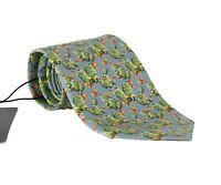 NEW $200 DOLCE & GABBANA Tie Light Blue 100% Silk Cactus Print Classic Necktie