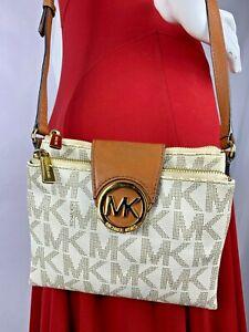 Michael Kors Fulton Signature Logo  Women's Double Zip Crossbody Handbag
