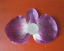 "3.5""Purple,Ivory Jewel Orchid Flower Hair Clip,Poly Silk,Pin Up,Updo,Rockabilly"