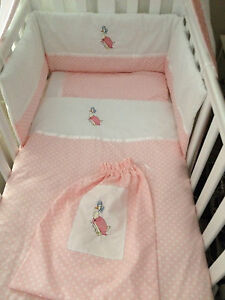 Beautiful Jemima puddleduck  crib cot cotbed bumper set and over cot drapes