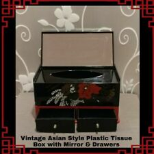 Vintage Asian Style Plastic Tissue Box with Mirror & Drawers