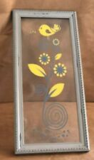 "Yellow bird on glass picture 10 x 22"" wall decor gray flower art singing song"