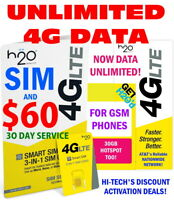 H2O  H20 WIRELESS SIM ⭐ $60 MONTH INCLUDED ⭐ UNLIMITED DATA ⭐ 30gb HOTSPOT