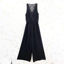 Zara Jumpsuit Size Medium M Black Wide Leg Sleeveless Lace Back Party Dressy