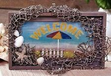 "Nautical/Beach Theme ""Welcome Sign"" 7.25"" x 12"" x 1.125"" Nwt Distressed-Look"