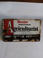 """Vintage Member Wisconsin Agriculturist Protective Service Tin Sign 10"""" x 6"""""""