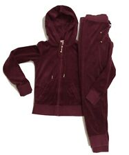 Juicy Couture Tracksuit Womens Velour Jacket and Jogger Pants XS Burgundy
