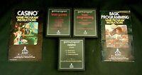Atari 2600 Game Cartridge Lot Of 5 Casino Brain Games Basic Programming & Manual