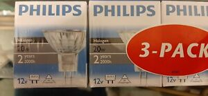 3 Philips MR 16  GU5.3  20w Halogen Light Bulbs Free Delivery