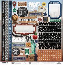 Paper House NEW YORK CITY 12x12 Cardstock Sticker Sheet MANHATTAN QUEENS BRONX