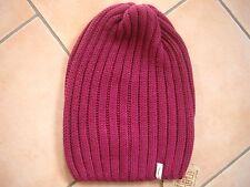 (P61) Rippenstrick Mütze FREAKY HEADS Beanie Wintermütze Beet Red mit Logo Flag