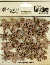 Wild Mini Blossom Printed CRAFT BROWN 24 Paper 2cm across Darjeeling Petaloo Ver