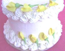 "80 - 1 /1/4"" Edible Yellow Rosebud Icing Cupcake Cake Topper Sugar Rose Flowers"