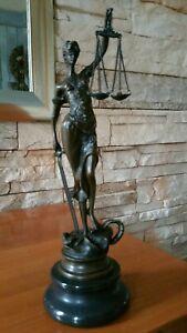 Skulptur Bronze Marmor Justitia Statue Göttin Antik Justizia Justicia Figur