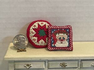 Vintage Artisan Needlework & Quilt Christmas Pillows Dollhouse Miniature 1:12