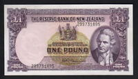 NEW ZEALAND P-159d. 1 Pound (1956-67) - Fleming.  with Thread. Prefix 299.. aUNC