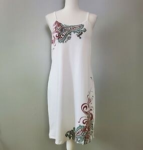 Athleta Women's White Paisley Built-In-Bra Spaghetti Strap Swim Sun Dress Size M