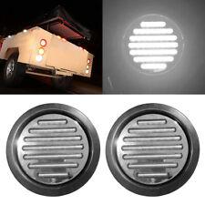 """2Pcs 4"""" Round White 49 LED Truck Trailer Light Stop Turn Tail Reverse Lights 12V"""