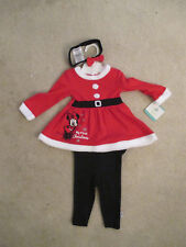 baby girl minnie mouse my 1st Christmas dress set pants head bow tie Disney red