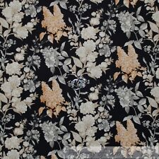 BonEful Fabric Cotton Quilt Black Gray Gold Wheat Leaf Flower Tree Toile L SCRAP