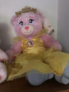 Build-A-Bear Disney Pink Teddy Princess Aurora With Belle dress/Glass Slippers