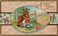 Antique Easter Postcard Conwell 1910 Bunny Colored Eggs in Egg Shape Frame Cute
