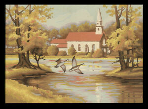 Vintage Mid-Century Paint-by-Numbers New England Chuch Autumn Scene, Geese