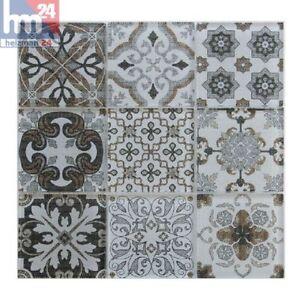 Pâte de Verre Brienza Ornament Carreaux de Mosaique Braun Beige Blanc Gris Noir