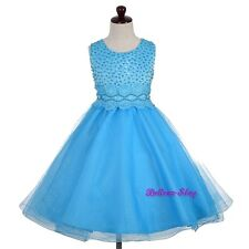 Sequin Beads Lace Wedding Flower Girl Pageant Occasion Dress Kid Size 2-10 FG372