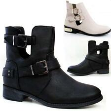 Ladies Biker Boots Fashion Ankle Cut Out Chelsea Riding Smart Heels Shoes Size