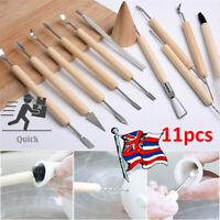 11Pcs Kit Tool Polymer Clay Sculpting Ceramics Model Wood Handle Pottery Carve