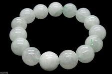 Beautiful 12mm 100% Natural White Jade Jadeit Round Beads Stretch Bracelet