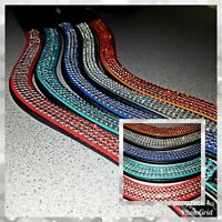 WAVE LEATHER BROWBANDS FOUR ROW DIAMANTE CRYSTAL SOFT PADDED FOR BRIDLE