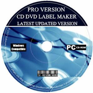 CD DVD Label Maker Pro Creator Design Print Customise Latest Software PC Pack