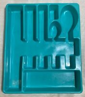 VTG Bee it's a honey Tray Cutlery Utensil Drawer Organizer 7 compartment teal