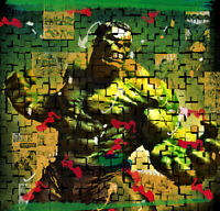 Abstract Hulk Poster Print Incredible Green Photo Collage Marvel Home Decor